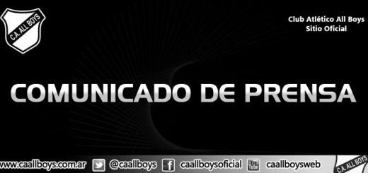 Comunicado de Prensa All Boys