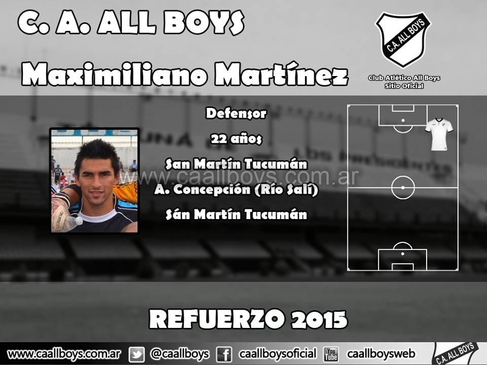 Maximiliano Martínez nuevo refuerzo de All Boys