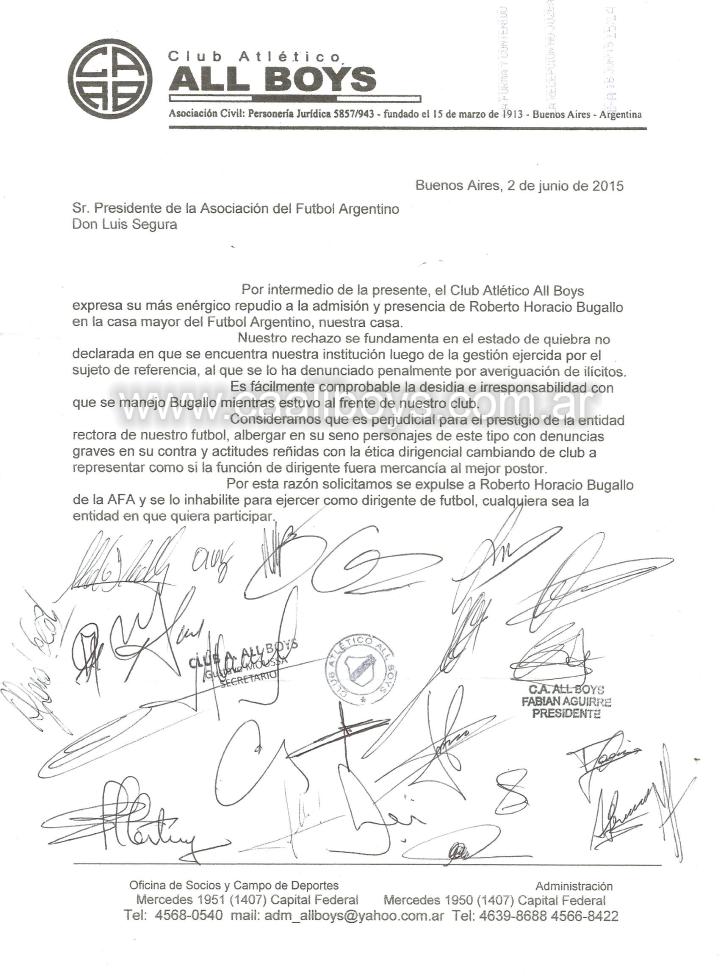 Nota presentada por All Boys a AFA por Tema Bugallo
