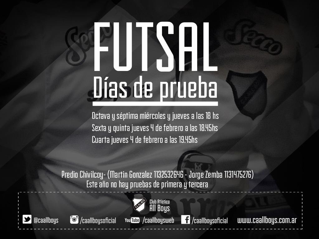 Pruebas de Futsal en All Boys