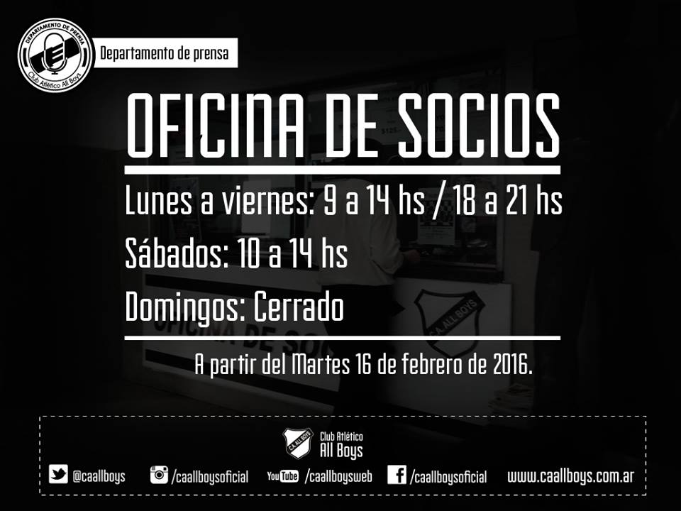 Nuevo horario de la oficina de socios c a all boys for Horario oficinas ibercaja